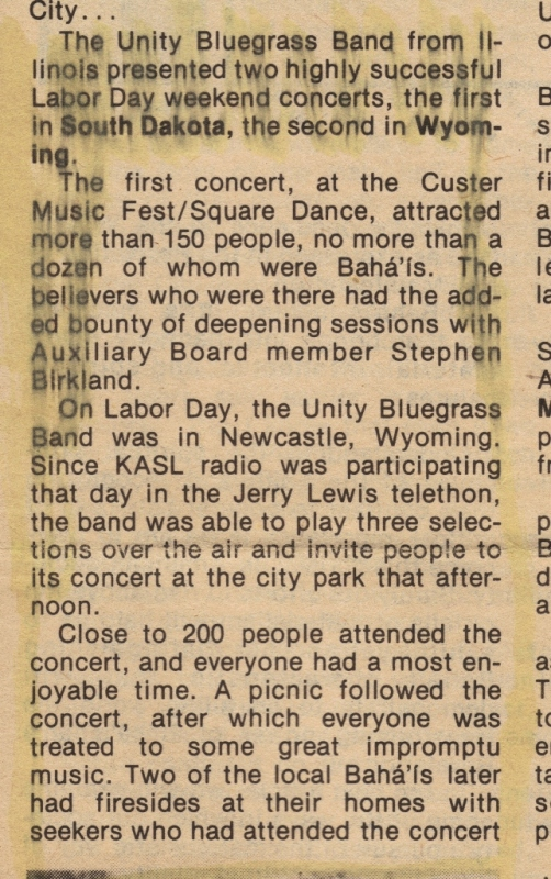 News clipping from performances in Custer, SD & Newcastle, Wy